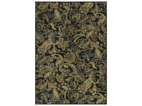 Rizzy Home Sorrento Rectangular Black Area Rug