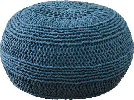 Rizzy Home Blue Pouf