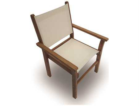 Royal Teak Collection Captiva White Sling Stackable Dining Arm Chair RLCAPW