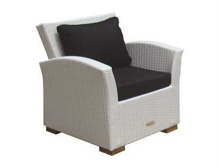 Royal Teak Charleston Wicker Cushion White Wash Lounge Chair
