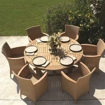 Royal Teak Collection 60'' Wide Round Drop Leaf Dining Table PatioLiving