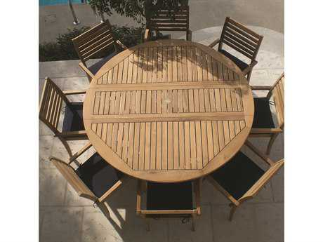Royal Teak Collection 72'' Wide Round Drop Leaf Dining Table PatioLiving