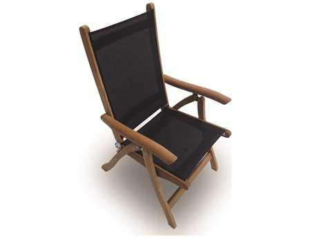 Royal Teak Collection Florida Black Sling Adjustable Folding Dining Arm Chair RLFLBL