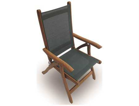 Royal Teak Collection Florida Moss Sling Adjustable Folding Dining Arm Chair RLFLMS