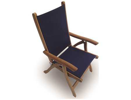 Royal Teak Collection Florida Navy Sling Adjustable Folding Dining Arm Chair RLFLNY
