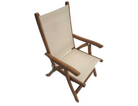 Royal Teak Collection Florida White Sling Adjustable Folding Dining Arm Chair PatioLiving