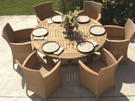 Royal Teak Helena Wicker Cushion Honey Dining Set
