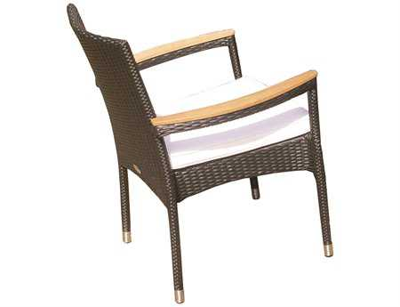 Royal Teak Helena Wicker Cushion Black Stacking Arm Chair