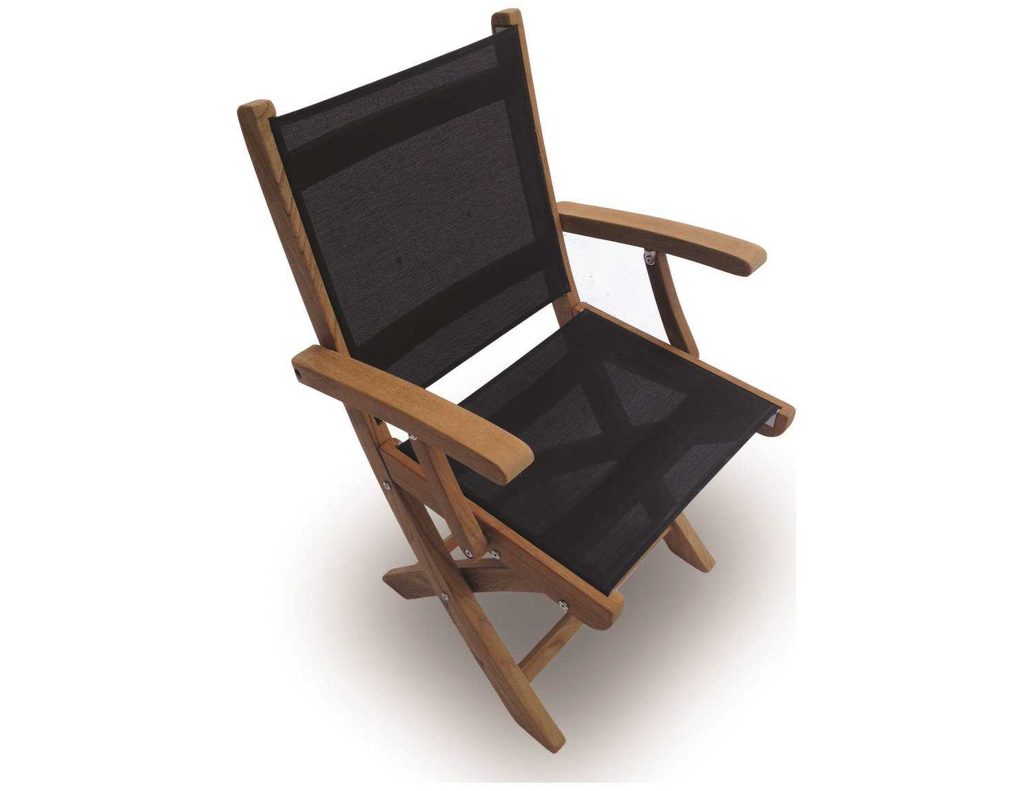Royal teak collection sailmate black sling folding dining for Black dining chairs with arms