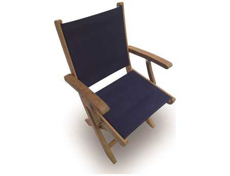 Royal Teak Collection Sailmate Navy Sling Folding Dining Arm Chair PatioLiving