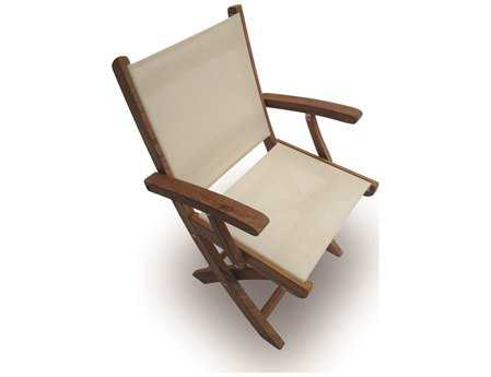 Royal Teak Collection Sailmate White Sling Folding Dining Arm Chair RLSMCW