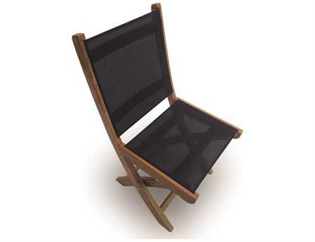 Royal Teak Collection Sailmate Black Sling Folding Dining Side Chair PatioLiving