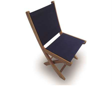 Royal Teak Collection Sailmate Navy Sling Folding Dining Side Chair PatioLiving
