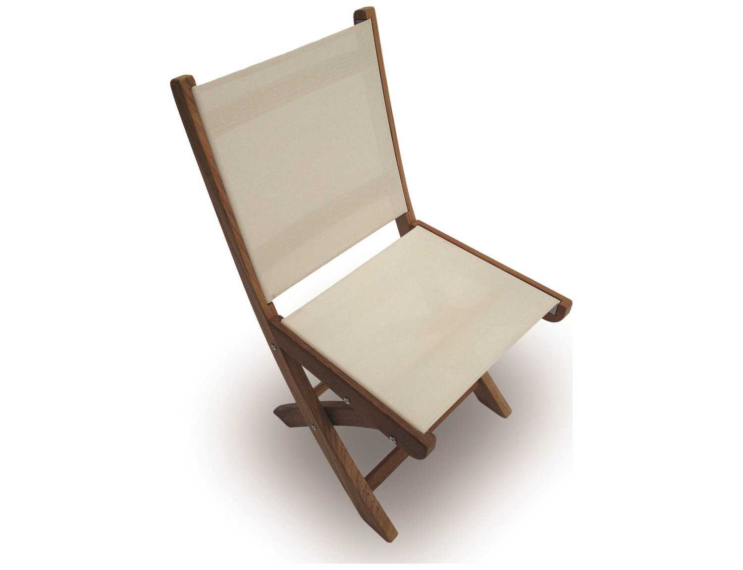 Pleasant Royal Teak Collection Sailmate White Sling Folding Dining Side Chair Evergreenethics Interior Chair Design Evergreenethicsorg
