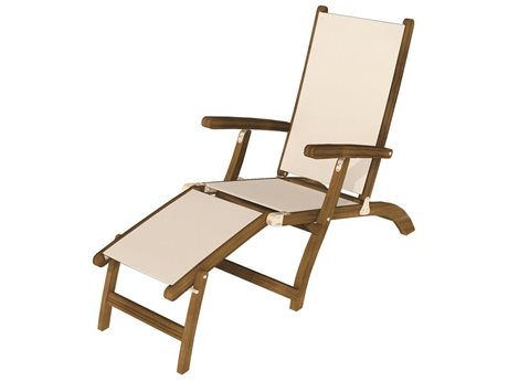 Royal Teak Collection Sling Steamer - White Sling