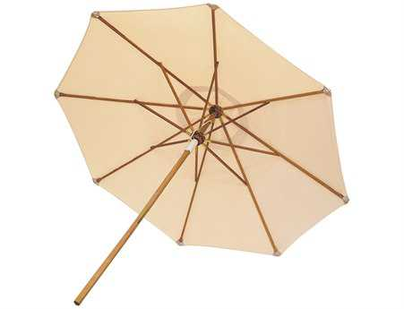 Royal Teak Collection Deluxe 10 Foot White Octagonal Manual Lift No Tilt Umbrella PatioLiving