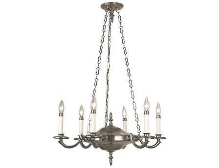 Framburg Napoleonic Antique Silver Six-Light 25'' Wide Chandelier