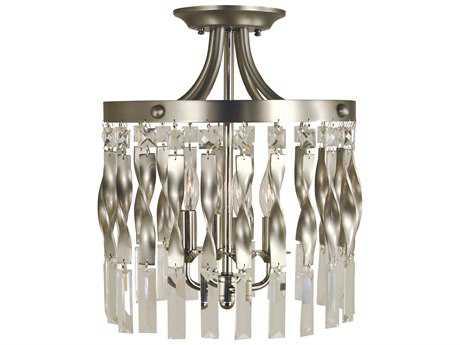 Framburg Adele Satin Pewter with Polished Nickel Four-Lights 12'' Wide Semi Flush Light