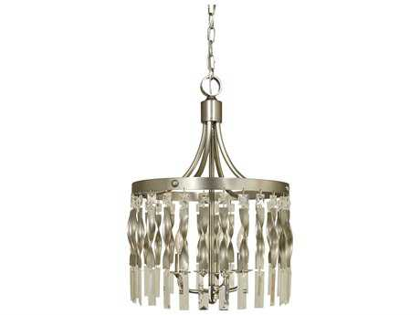 Framburg Adele Satin Pewter with Polished Nickel Four-Lights 14'' Wide Mini Chandelier