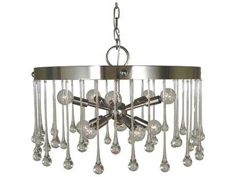 Framburg Waterfall Polished Nickel Ten-Light 21'' Wide Mini Chandelier