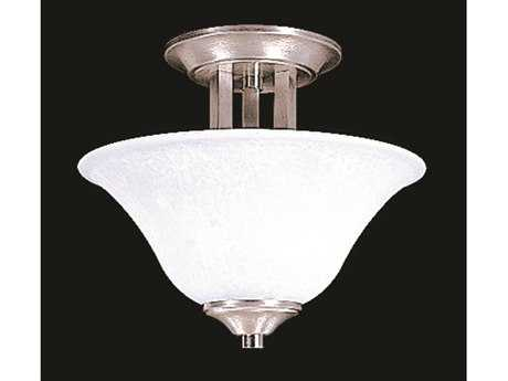 Framburg Solstice Brushed Stainless with Polished Nickel Two-Light Semi-Flush Mount