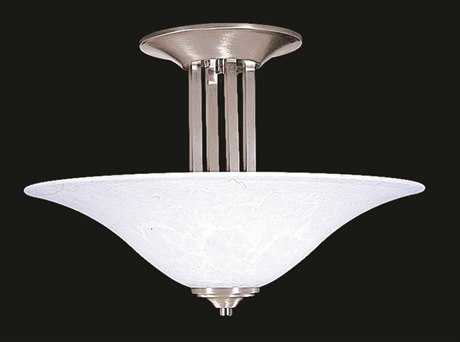 Framburg Solstice Brushed Stainless with Polished Nickel Three-Light Semi-Flush Mount