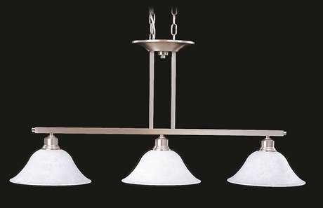 Framburg Solstice Brushed Stainless with Polished Nickel Three-Light Island Light