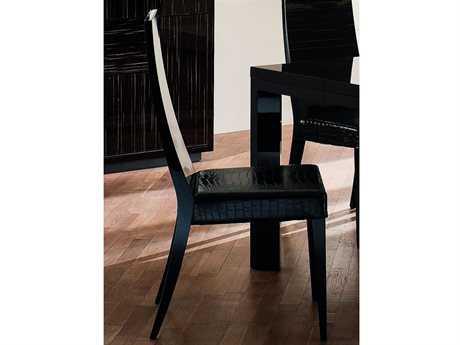 Rossetto Nightfly Ebony & Black Crocodile Leather Dining Side Chair (2 Piece Set)