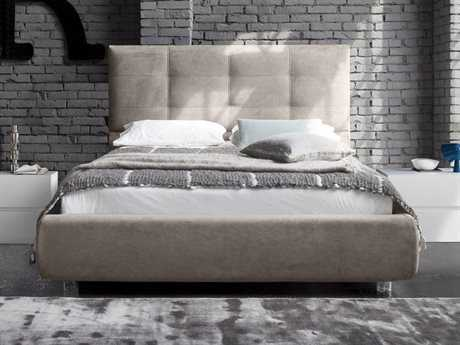 Rossetto New Age Ecru Nabuk Queen Size Panel Bed