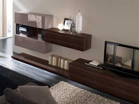 Rossetto Tween 130'' x 20'' Thermotrattato Oak & Grey Lacquer Wall Unit