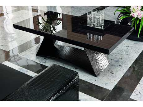 Rossetto Nightfly Ebony with Black Crocodile Leather 47''L x 26''W Rectangular Coffee Table (OPEN BOX)