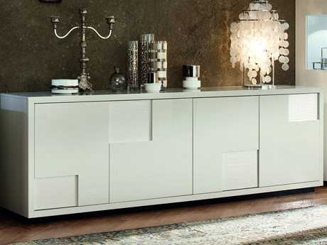 Rossetto Nightfly 79'' x 22'' White Buffet Table with Crocodile Leather