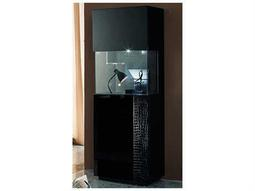 Rossetto Nightfly Black & Crocodile Leather Right Door Curio with Light