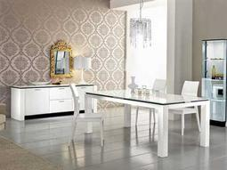 Rossetto Diamond White Dining Set with Swarsovski Crystals