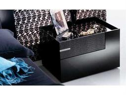 Rossetto Diamond Black Glossy & Crocodile Leather Right Side Nightstand with Swarovski Crystal Insert