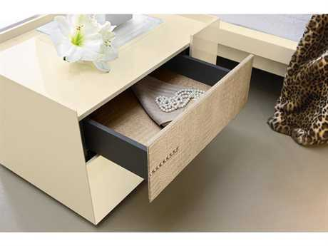 Rossetto Diamond Ivory Glossy & Crocodile Leather Right Side Nightstand with Swarovski Crystal Insert
