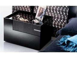 Rossetto Diamond Black Glossy & Crocodile Leather Left Side Nightstand with Swarovski Crystal Insert