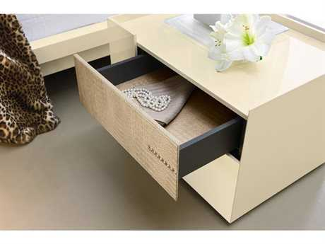 Rossetto Diamond Ivory Glossy & Crocodile Leather Left Side Nightstand with Swarovski Crystal Insert