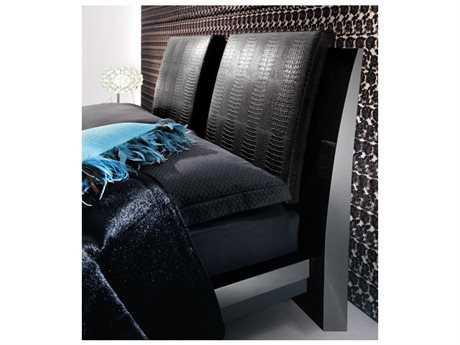 Rossetto Diamond Black Crocodile Leather Headboard Pillows (2 Piece Set)