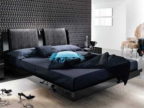 Rossetto Diamond Black Glossy King Size Platform Bed