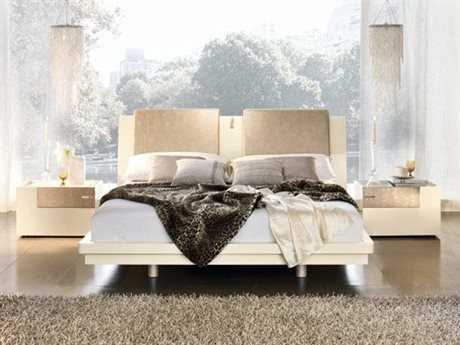 Rossetto Diamond Ivory Glossy King Size Platform Bed