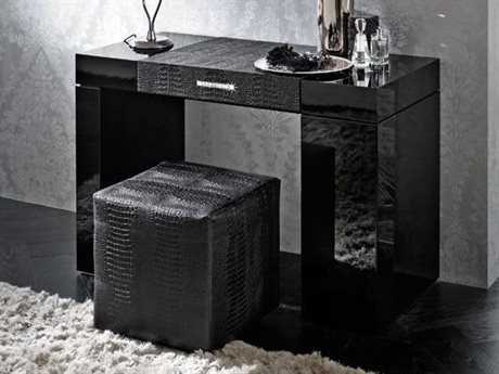 Rossetto Diamond Black Glossy & Crocodile Leather Dressing Table
