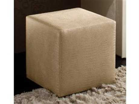 Rossetto Diamond Ivory Crocodile Leather Pouf