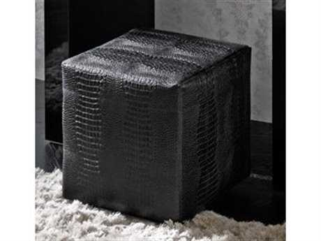 Rossetto Diamond Black Crocodile Leather Pouf