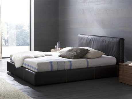 Rossetto Touch Brown Leather Queen Size Platform Bed