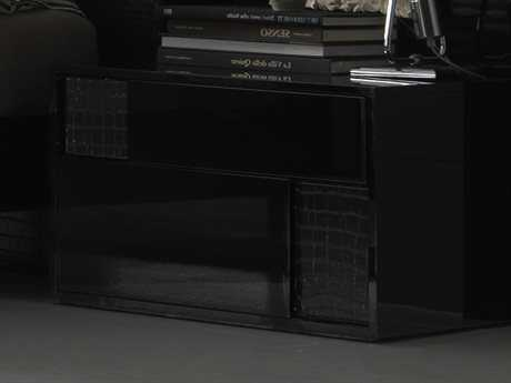 Rossetto Nightfly Black Glossy with Crocodile Leather Right Side Nightstand
