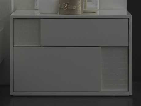 Rossetto Nightfly White Glossy with Crocodile Leather Right Side Nightstand