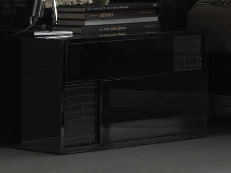 Rossetto Nightfly Black Glossy with Crocodile Leather Left Side Nightstand
