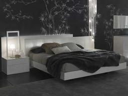 Rossetto Nightfly White Glossy King Size Platform Bed with Expendable White Leather Padded Headboard
