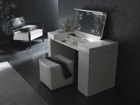 Rossetto Nightfly White Glossy & White Crocodile Leather Dressing Table